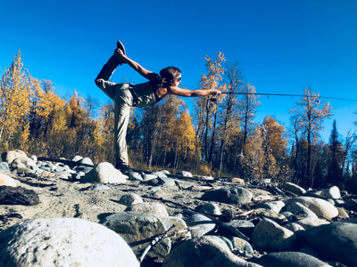 Fishing yoga in Alaska